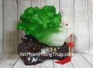 Bắp cải xanh lớn uốn như ý trên củ lạc gỗ LN075