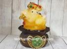 Thiềm thừ ngọc vàng cam thần tài trung trên đế gỗ xoay LN096