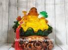 Phật di lạc cam vàng tay cầm như ý và bắp cải LN186