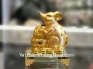 Chuột vàng ôm hủ tiền trên đế thuỷ tinh TM033