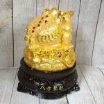 ln090 thiem thu tui vang 150x150 Thiềm thừ trên túi vàng lớn đế gỗ xoay LN090