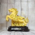 ln127 vua ngua kim sa 150x150 Vua ngựa kim sa vàng trên đế gỗ LN127